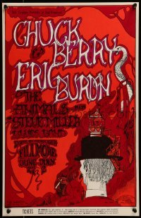 2w060 CHUCK BERRY/ERIC BURDON/ANIMALS/STEVE MILLER 14x22 music poster 1967 cool Greg Irons art!