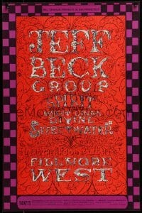 2w065 JEFF BECK GROUP 14x21 music poster 1968 great psychedelic art by Lee Conklin, Bill Graham!