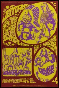 2w068 JEFFERSON AIRPLANE/CHARLATANS/BLUE CHEER 14x21 music poster 1967 MacLean & Greene art!