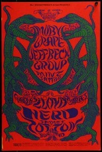 2w071 MOBY GRAPE/JEFF BECK GROUP/MINT TATTOO 14x21 music poster 1968 Lee Conklin lizard art!