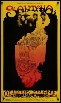 2w078 SANTANA/COLLECTORS/MELANIE 13x22 music poster 1969 Greg Irons art for the rock concert!