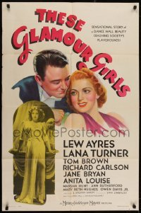 2w235 THESE GLAMOUR GIRLS style D 1sh 1939 art of young sexy Lana Turner in her first starring role!