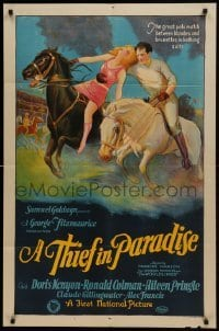 2w236 THIEF IN PARADISE 1sh 1925 great art of Ronald Colman who impersonates rich man, ultra rare!