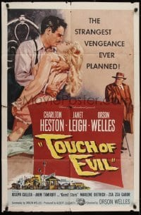 2w238 TOUCH OF EVIL 1sh 1958 Bob Tollen art of Orson Welles, Charlton Heston & Janet Leigh!