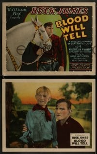 2w242 BLOOD WILL TELL 8 LCs 1927 Buck Jones in every scene & on the title card, rare complete set!
