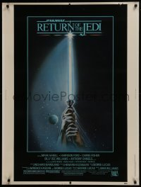 2x043 RETURN OF THE JEDI 30x40 1983 George Lucas, art of hands holding lightsaber by Tim Reamer!