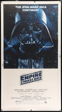 2x004 EMPIRE STRIKES BACK linen 3sh 1980 Darth Vader helmet and mask in space, George Lucas classic!