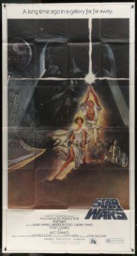 2x017 STAR WARS 3sh 1977 George Lucas classic sci-fi epic, great montage art by Tom Jung!