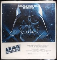 2x003 EMPIRE STRIKES BACK linen 6sh 1980 George Lucas classic, giant Darth Vader head in space!