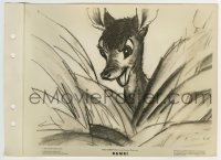 2x626 BAMBI 8x11 key book still 1942 wonderful pencil sketch of Bambi in the bushes!