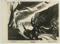 2x623 BAMBI 8x11 key book still 1942 deer fleeing the forest fire that killed Bambi's mother!
