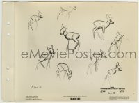2x624 BAMBI 8x11 key book still 1942 Disney, model sheet of him in suggested action sketches!