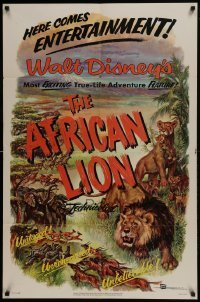 2x257 AFRICAN LION 1sh 1955 Walt Disney jungle safari documentary, cool animal artwork!