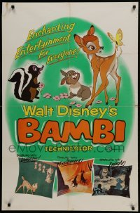 2x262 BAMBI 1sh R1957 Walt Disney cartoon deer classic, great art with Thumper & Flower!