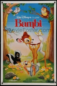 2x264 BAMBI 1sh R1988 Walt Disney cartoon deer classic, great Morrison art with Thumper & Flower!