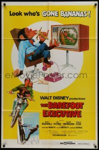 2x265 BAREFOOT EXECUTIVE 1sh 1971 Disney, art of Kurt Russell & wacky chimp gone bananas!
