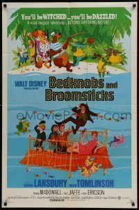 2x267 BEDKNOBS & BROOMSTICKS 1sh 1971 Walt Disney, Angela Lansbury, great cartoon art!