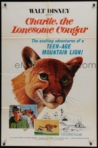 2x278 CHARLIE THE LONESOME COUGAR 1sh 1967 Walt Disney, art of smiling teen-age mountain lion!