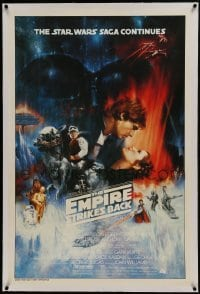 2x007 EMPIRE STRIKES BACK linen 1sh 1980 best unedited Roger Kastel art w/ added images, rare!