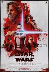 2x080 LAST JEDI int'l advance DS 1sh 2017 Star Wars, Hamill, Fisher, Ridley, the Resistance!