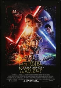 2x076 FORCE AWAKENS int'l advance DS 1sh 2015 Star Wars: Episode VII, Ford, Fisher, December montage