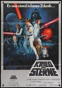 2x014 STAR WARS German 33x47 1977 classic sci-fi epic, great artwork by Tom Chantrell!