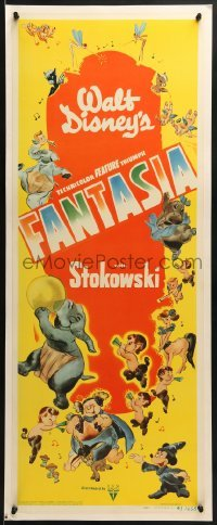 2x211 FANTASIA insert 1942 Walt Disney classic, great montage of Mickey Mouse & cast, ultra rare!