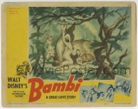2x377 BAMBI LC 1942 Walt Disney cartoon deer classic, he's snuggling with his mother in forest!