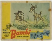 2x378 BAMBI LC 1942 Walt Disney cartoon deer classic, he's young & playing with Faline!