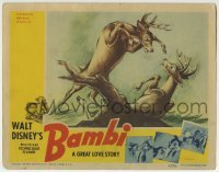 2x379 BAMBI LC 1942 Disney classic, great image of Bambi & Ronno in buck fight for Faline's love!