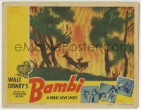 2x380 BAMBI LC 1942 Walt Disney, great image of Bambi and his dad fleeing a raging forest fire!