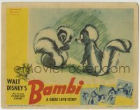 2x382 BAMBI LC 1942 Walt Disney cartoon deer classic, great image with Flower the skunk flirting!