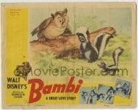 2x383 BAMBI LC 1942 Walt Disney cartoon deer classic, great image with Flower the skunk & owl!