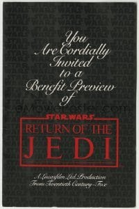 2x025 RETURN OF THE JEDI 5x8 benefit preview invitation 1983 Toronto Hospital for Sick Children!