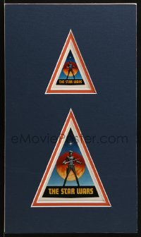 2x015 STAR WARS group of 2 stickers in 9x15 matted display 1976 with early Ralph McQuarrie art!