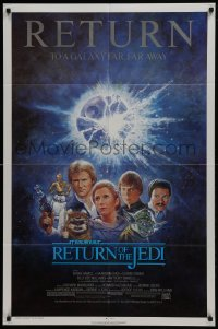 2x022 RETURN OF THE JEDI 1sh R1985 George Lucas classic, Mark Hamill, Ford, Tom Jung art!