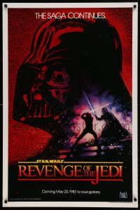 2x066 RETURN OF THE JEDI teaser 1sh 1983 George Lucas' Revenge of the Jedi, Drew Struzan art!