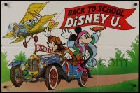 2x611 BACK TO SCHOOL DISNEY U 22x33 special poster 1978 Disney, great art of Mickey in biplane!