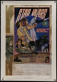 2x009 STAR WARS signed linen style D NSS style 1sh 1977 by artists Drew Struzan AND Charles White!