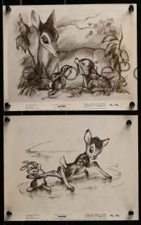 2x728 BAMBI 10 8x10 stills R1948 Walt Disney cartoon deer classic, all with great artwork!