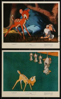 2x755 BAMBI 4 color 8x10 stills R1975 Walt Disney cartoon deer classic, great scenes!