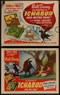 2x471 ADVENTURES OF ICHABOD & MISTER TOAD 8 LCs 1949 BING and WALT wake up Sleepy Hollow with a BANG