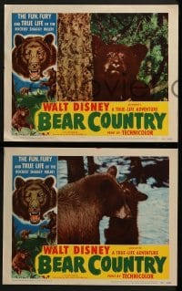 2x532 BEAR COUNTRY 4 LCs 1953 Disney True-Life Adventure, cool bear border artwork and bear images!