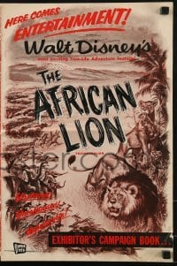 2x549 AFRICAN LION pressbook 1955 Walt Disney jungle safari documentary, cool artwork!