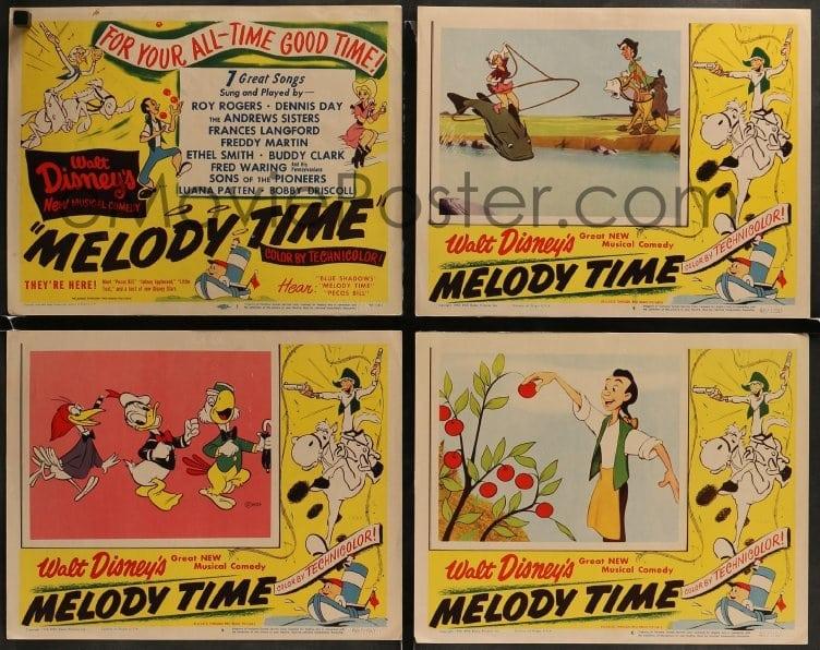 Emovieposter Com 2x489 Melody Time 8 Lcs 1948 Walt Disney Cool Cartoon Art Of Pecos Bill Little Toot Rare