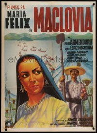 2y013 MACLOVIA Mexican poster 1948 Espert art of Maria Felix standing with Mexican farmers!