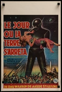 2z979 DAY THE EARTH STOOD STILL 14x21 Belgian REPRO poster 1990s classic art of Gort holding Patricia Neal!