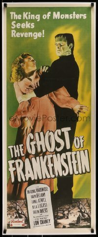 2z984 GHOST OF FRANKENSTEIN 17x41 REPRO poster 1980s monster Lon Chaney Jr. carrying Evelyn Ankers!