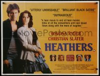 2z989 HEATHERS 28x37 English REPRO poster 1990s really young Winona Ryder & Christian Slater!