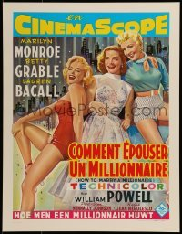 2z990 HOW TO MARRY A MILLIONAIRE 15x20 Belgian REPRO poster 1990s Marilyn Monroe, Grable & Bacall!